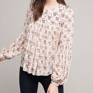 Anthropologie Floreat Sals Beaded Peasant Top